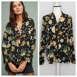 MAEVE anthropologie whimsy button down floral top